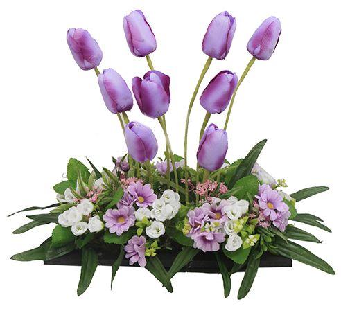 Centro de mesa con flores moradas para bodas o xv a os - Manualidades centros de mesa ...
