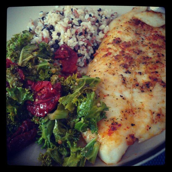 Swai fish kale with sun dried tomatoes and medley rice for Swai fish nutrition