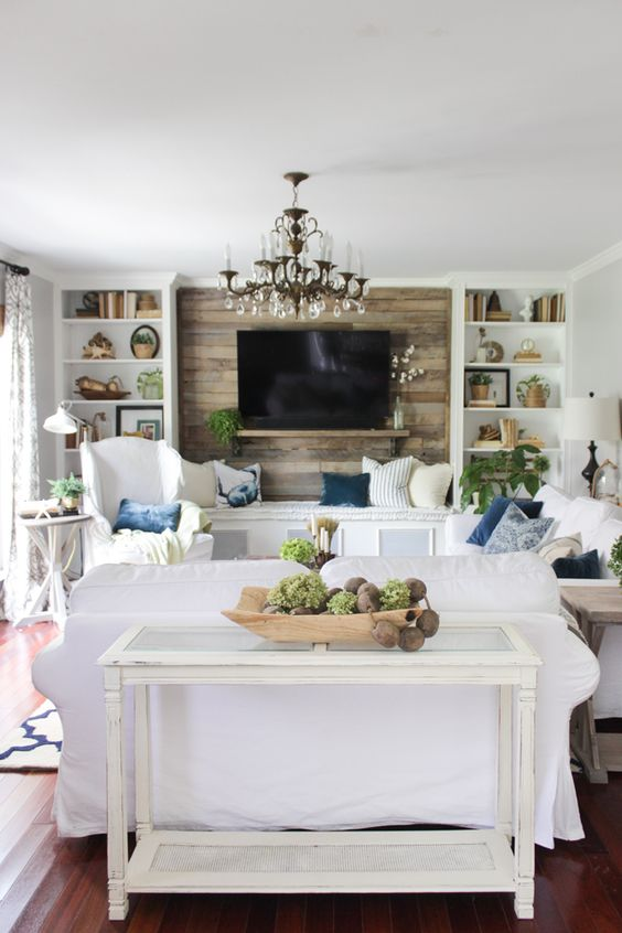 pop of color trend blues in a neutral family room