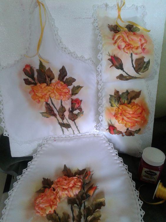 Set De Baño En Cinta:Kit de baño: bordado en cinta, pintura textil