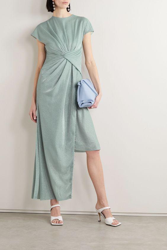 Mint Asymmetric bead-embellished gathered metallic knitted dress | Lanvin | NET-A-PORTER