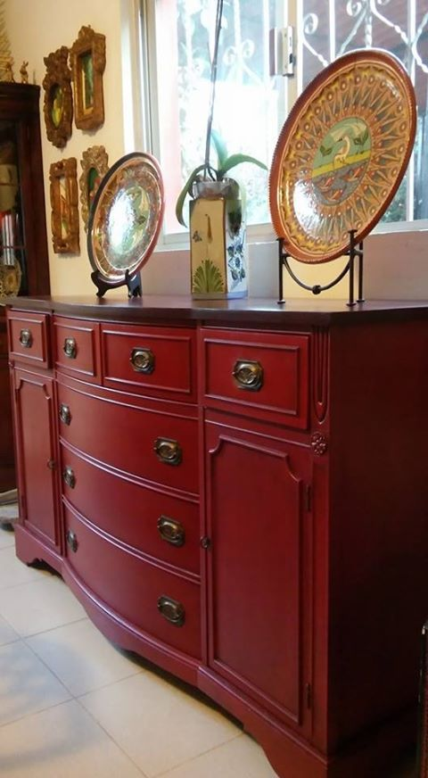 Estrellita White :l: CeCe Caldwell's Chalk + Clay Paint :l: Jersey Tomato :l: Painted Furniture :l: Painted Sheraton Buffet