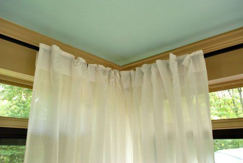 How To Hang Corner Curtain Rods Painting The Ceiling Blue Corner Curtains Corner Curtain Rod Corner Window Treatments