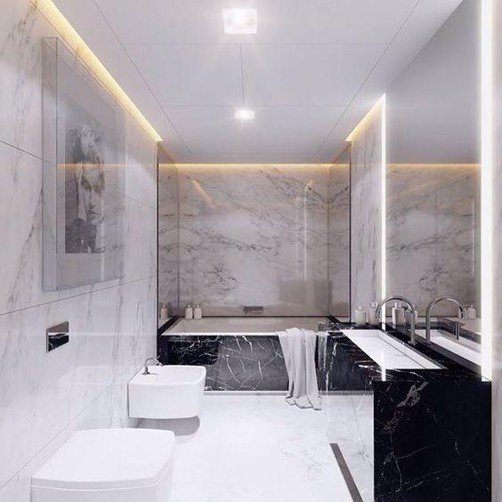 Carrar marble bathroom #modernmansionblack