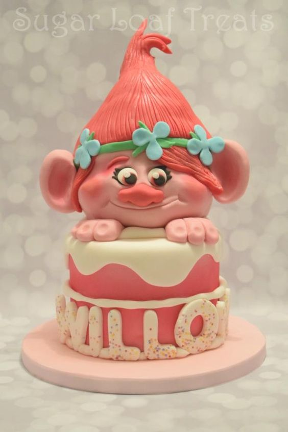 Poppy Troll Cake by SugarLoafTreats: