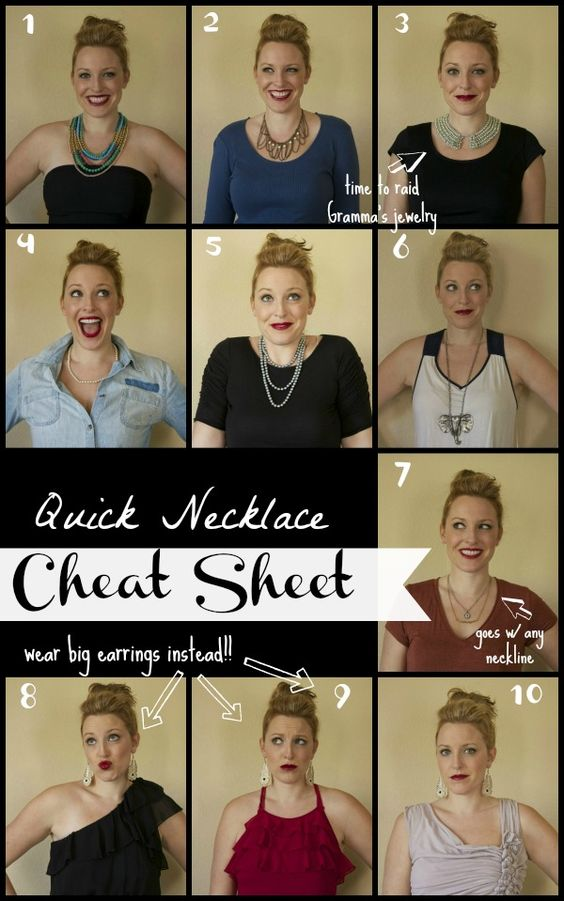 Perplexed by what necklace to wear with what neckline? This cheat sheet ought to help with somewhatsimple.com
