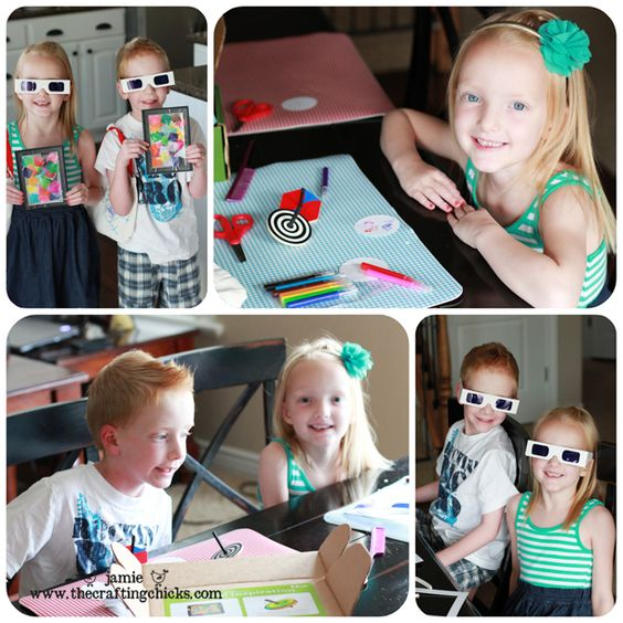 """My 5 year olds had fun with the 'colorful inspiration' box.  They loved making their own little stained glass windows and especially looking through them with their fancy blue glasses!"""" - The Crafting Chicks"""