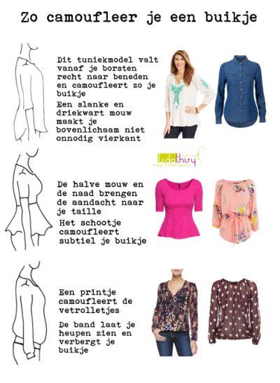 Zo camoufleer je een buikje   www.lidathiry.nl   klik op de foto voor meer tips #buikje #kledingtip