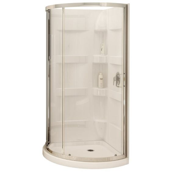 maax 80 in h x 34 in w x 34 in l white round 3 piece corner shower kit at lowe 39 s canada home. Black Bedroom Furniture Sets. Home Design Ideas