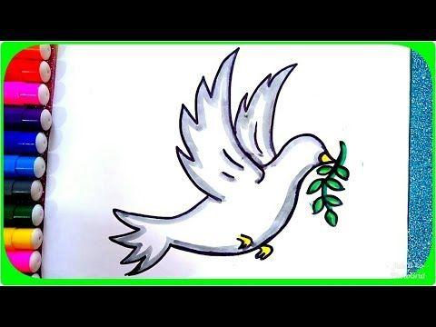رسم حمامة السلام وغصن الزيتون للأطفال رسم حمامة تطير بالخطوات وبطريقة سهلة Youtube Drawings Art Arabic Calligraphy