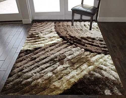 Buy 8 X10 Feet Dark Brown Light Brown Gold Caramel Colors 3d Carved Shag Shaggy Striped Woven Braided Hand Knotted Feisty Accent Fluffy Fuzzy Modern Contempora In 2020 Area Room Rugs Living