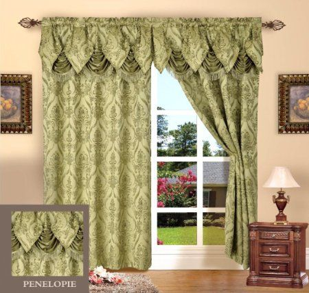 Curtains Ideas 54 inch long curtain panels : Amazon.com - Set of 2 Penelopie Jacquard Look Curtain Panels, 54 ...