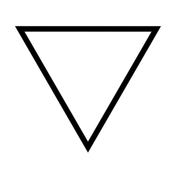 Fría y húmeda, el símbolo alquímico para el agua es un triángulo con su vértice invertido