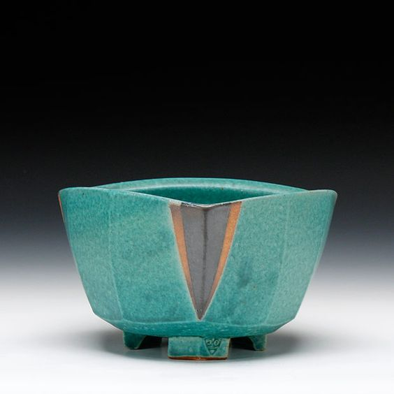 Jeff Oestreich, soda fired stoneware with latex resist decoration and multiple glazes
