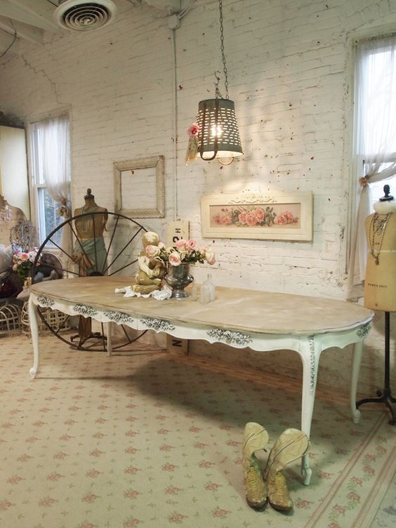 Painted Cottage Chic Shabby White French Dining Table TBL16. $695.00, via Etsy.