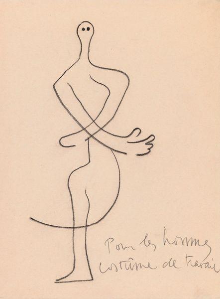 Joan Miró (1893-1983). Roméo et Juliette, Costume design, ca. 1926. Charcoal crayon. Howard D. Rothchild Collection. pf MS Thr 414.4 (104). Bequest, 1989.
