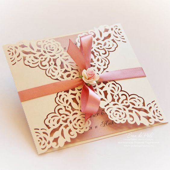 """Wedding Invitation Pattern Card 6*6"""" Template Roses Lace"""