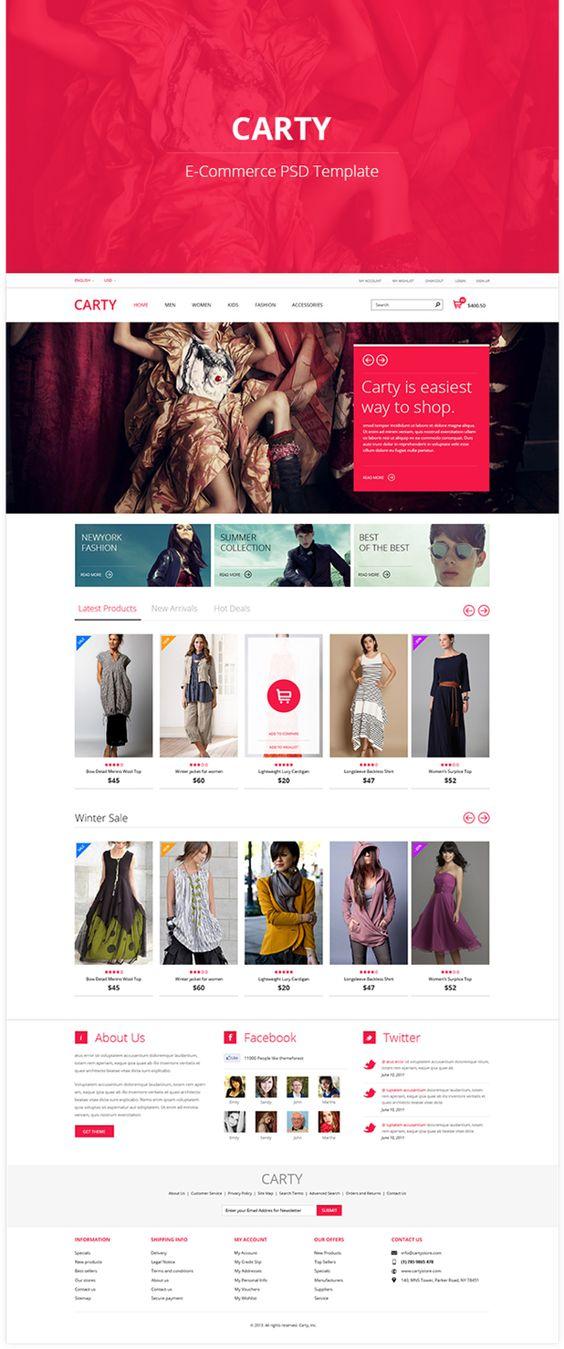 Carty - E-commerce PSD Template Theme by Bouncy Studio, via Behance