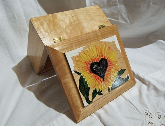 Jewelry / Trinket / keepsake wood box, painted heart Sunflower great gift. Trailrider by TrailRider on Etsy
