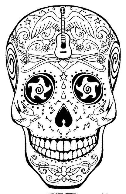 Coloring Page Skull Sugar Mexican