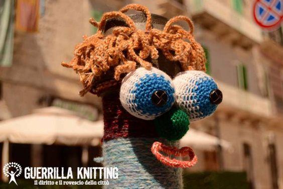 A 'Guerrilla Knitting' yarn bomb at StrArte in Giovinazzo, Italy