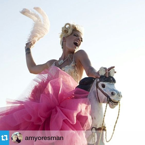 """#Repost @amyoresman ・・・ #tbt #pink #funhouse #albumcover #makeup by me  Ride baby Ride hair by @marciahamilton"""