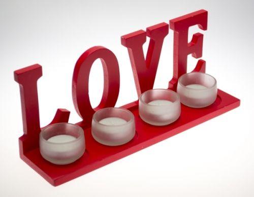Bigg Ahşap Love Şamdan