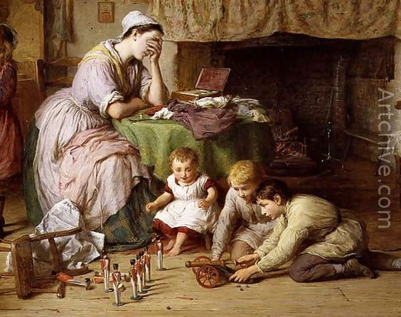 The Soldiers Wife, detail of the mother and boys playing soldiers, 1878 - George Smith: