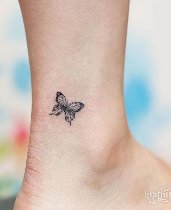 Simple Leg Tattoos For Girls In 2020 Butterfly Tattoo Tiny Butterfly Tattoo Small Tattoos