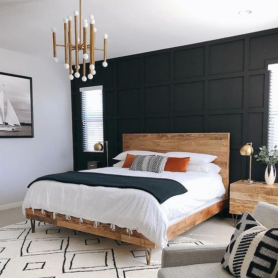 July Pinterest Top 15 Pins Chloe Dominik Inspiration Feature Wall Bedroom Modern Master Bedroom Design Black Panel Bedroom