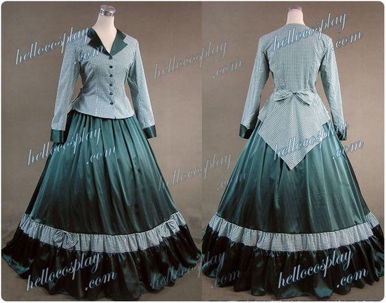 Guerre Civile Victorien Tartan Robe de Bal Soirée de Danses