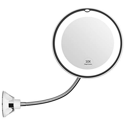 Kedsum Flexible Gooseneck 6 8 10x Magnifying Led Lighted Makeup Mirror Bathroom Vanity Mirror With Strong Suction Cup 360 Degree Swivel Daylight Battery Opera Makeup Mirror With Lights Lighted Vanity Mirror Wall Mounted Makeup Mirror