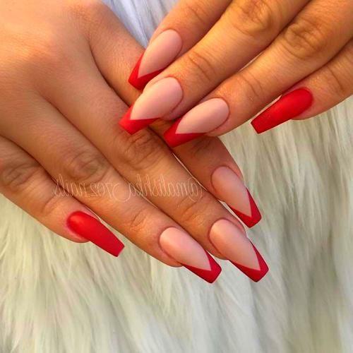 Red Nails Red Nails Nail Shapes Ballerina Nails Shape
