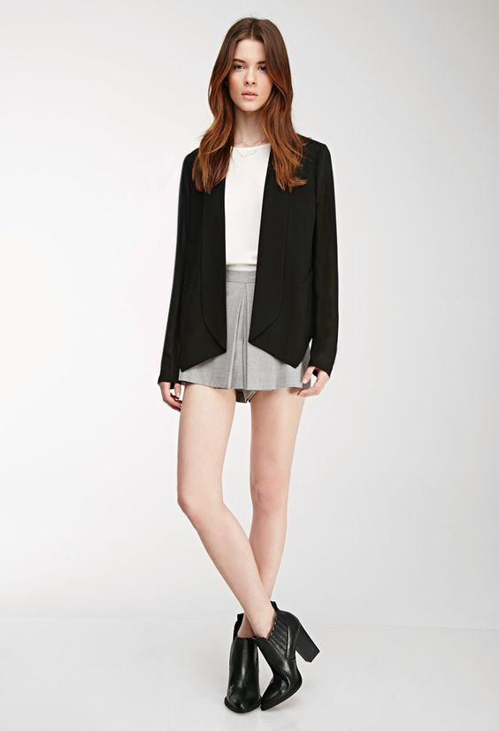 Dropped Lapel Chiffon-Sleeved Blazer - Jackets & Coats - 2000081540 - Forever 21 EU