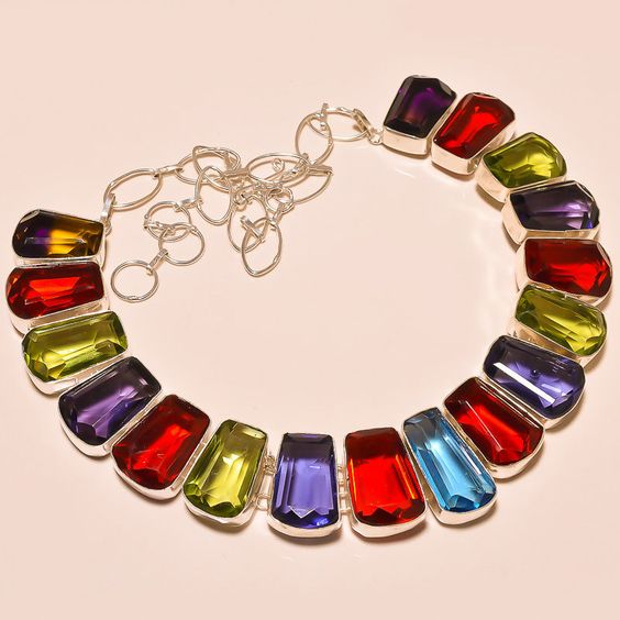 WONDERFUL FACETED MULTI GEM STONE PRETTY  .925 SILVER NECKLACE #Handmade #Choker