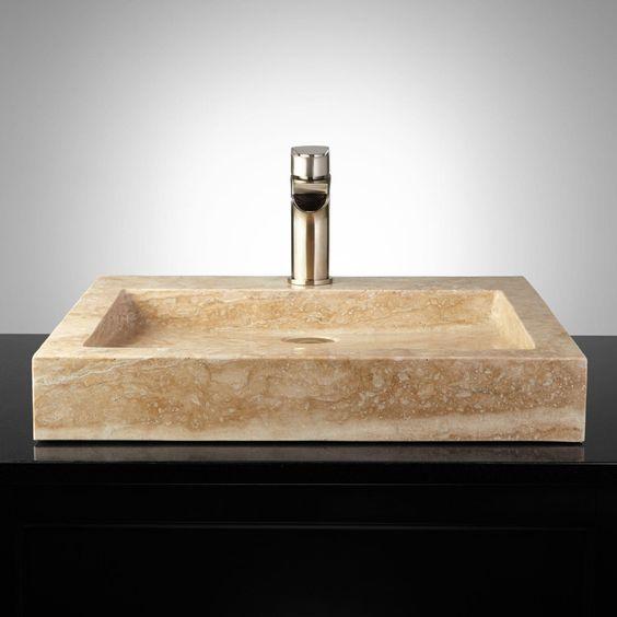 Square polished travertine vessel sink house ideas for Travertine sinks bathroom
