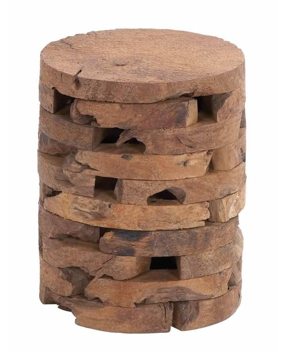 Contemporary Wooden Teak Puzzle Stool -  is an innovative work of art. A stool provides that extra seating arrangement needed during large gatherings. This stylish wooden stool constructed from teak wood has round disks of wood forming the base and top whereas the body depicts a puzzle of wood segments piled on top of each other to create a structured stool.
