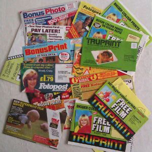 1980s Photo Processing Envelopes...always through the letter box!!!
