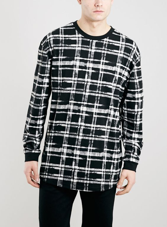 BLACK CHECK LONG SLEEVE T-SHIRT
