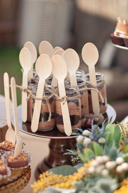 Tie banana spoons on if using jars Sweet Dessert Shooters