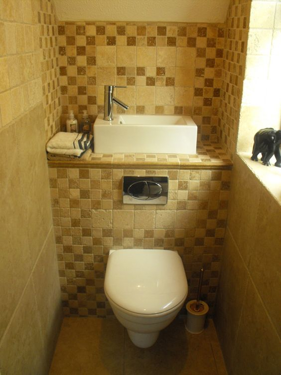 Small cloakroom toilet clever space saving sink with - Small space toilet and sink ...