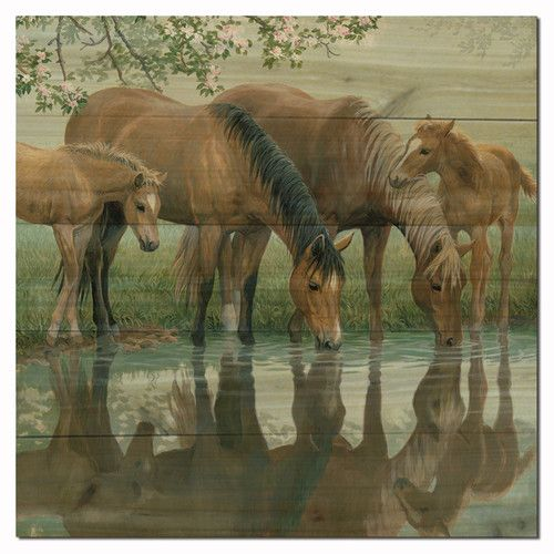 Found it at Wayfair - Sweet Spring Horses Painting Print on Wood