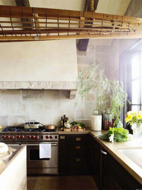stone, wood & cement kitchen.