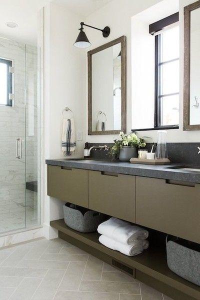 Masculine Elements Green Bathroom Dark Countertops House