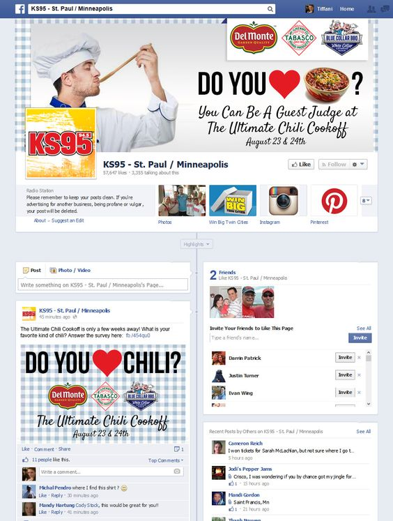 Pitch for KS95 Radio Minneapolis. User generated contest and social media campaign to promote huge summer chili cookoff sponsored by Del Monte, Tabasco, and Blue Collar BBQ. Included Facebook, Twitter, email, SMS, website promotional graphics, and on-air components.