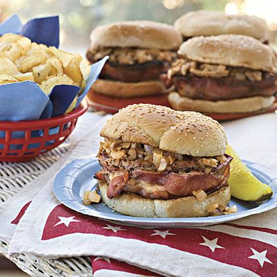 Recipe: Bacon-Wrapped Barbecue Burgers | SouthernLiving.com | #4thofJuly