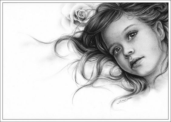 Very lovely pencil drawing. Notice the rose by her hair and the white half that adds to the picture.?