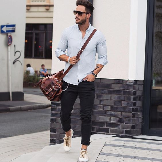 bag jeans and shirt combination