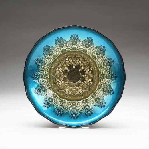 Red Pomegranate Moroccan Design Deep Aqua Blue and Gilded Gold Salad Fruit Dessert Bowl Handmade - Embrace exotic elegance at your next tea party with this stunning, hand painted bowl.  It's the perfect size for serving fruits and salads.  $33.95