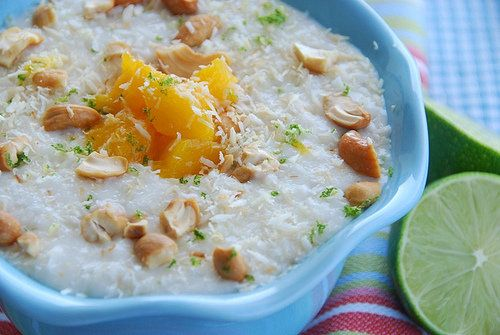 coconut and lime rice pudding w/ mango and cashews